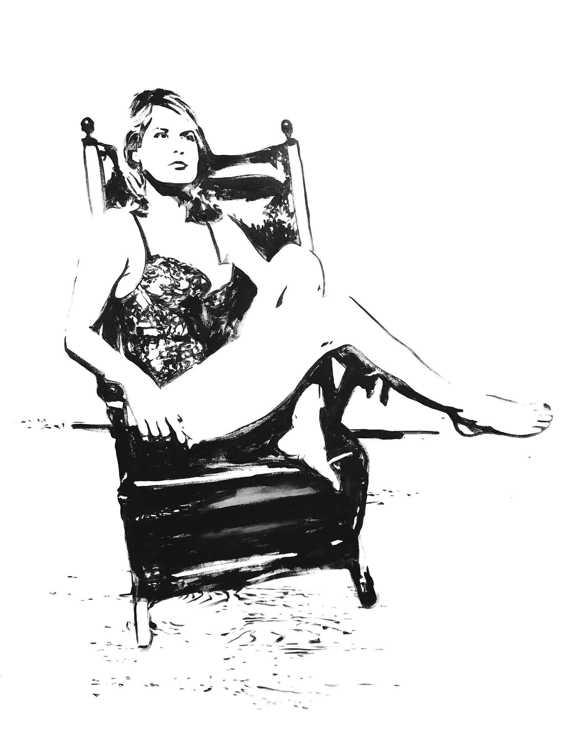girl sitting, black and white, chair