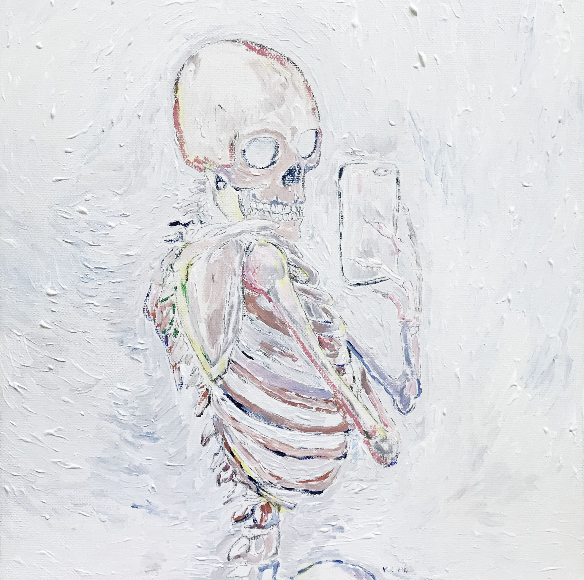 Skeleton with iPhone